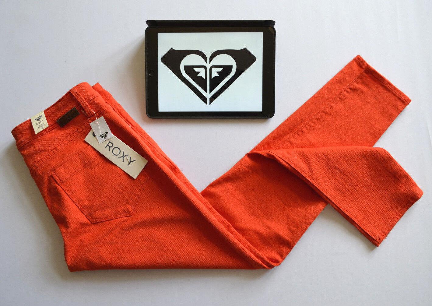 Jeans da donna ROXY Brillante Taglio Affusolato Skinny Denim Arancione Cotone SZ. W29 -32  L27