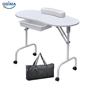 White manicure nail hand table professional portable salon for Table salon retractable