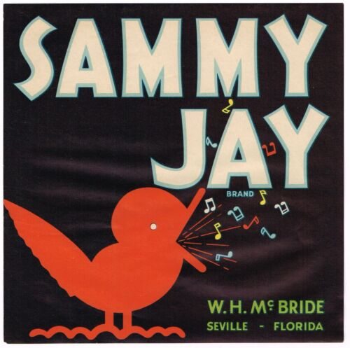 CRATE LABEL VINTAGE FLORIDA MUSICAL SONG BIRD SAMMY JAY ORIGINAL C1930 NOTES