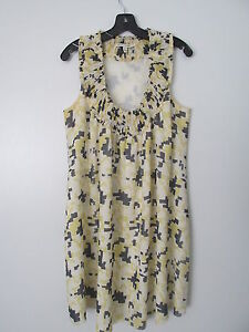 Twenty8Twelve-Yellow-100-Silk-Ruffled-Neckline-A-Line-Knee-Length-Dress-SIZE-6
