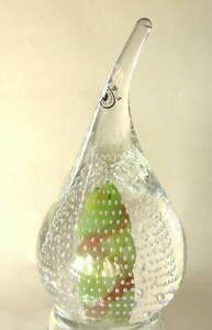 F-amp-C-2001-Hand-Made-Crystal-Green-Teardrop-Shape-Paperweight-Signed-Poland-NEW