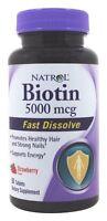 Natrol Biotin 5000 Mcg Fast Dissolve Hair Nail Skin Health Energy 90 Tablets on sale
