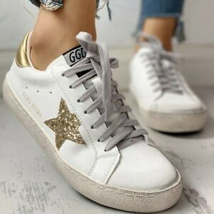 sequins star design casual laceup sneakers size 8brand