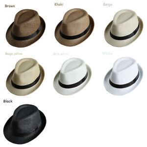 bde0d27bc Details about Men Women Child Straw Homburg Sunhat Hat Cap Braid Jazz  Trilby Fedora Panama
