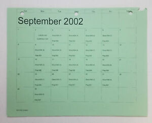 DAWSON-039-S-CREEK-set-used-paperwork-PRODUCTION-CALENDAR-schedule-page-Sep-2002