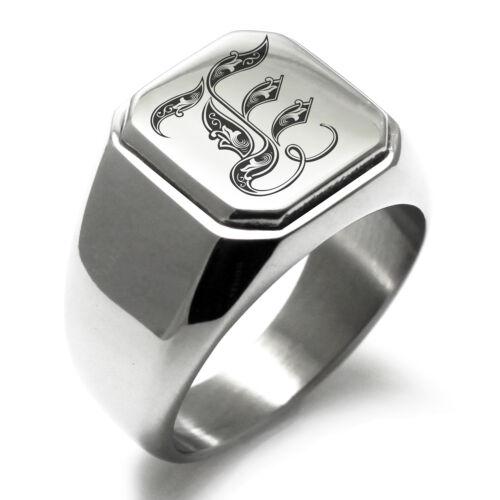 Stainless Steel Monogram Royal Initial E Mens Square Biker Style Signet Ring