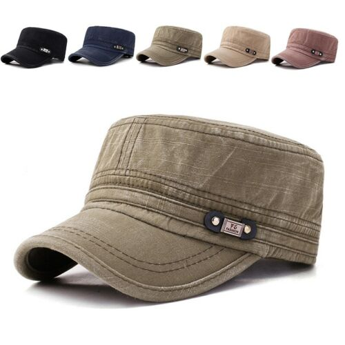 Mens Washed Cotton Flat Top Hat Outdoor Sun Army Hat Adjustable Cap Casual Cap
