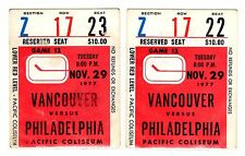 1X VANCOUVER CANUCKS Ticket Stub vs PHILADELPHIA FLYERS Nov 29th 1977 RARE