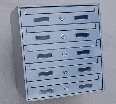 Silber 5er  5-fach und andere Briefkastenanlage Verzinkt Einbau Aufputz