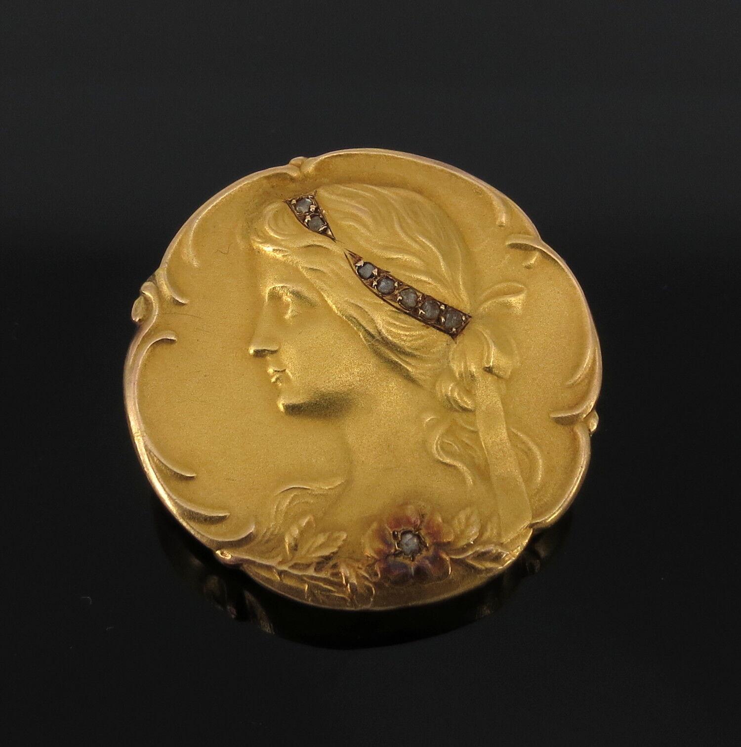 Antique Art Nouveau 0.07ct pink Cut Diamond & 18K Yellow gold Cameo Brooch