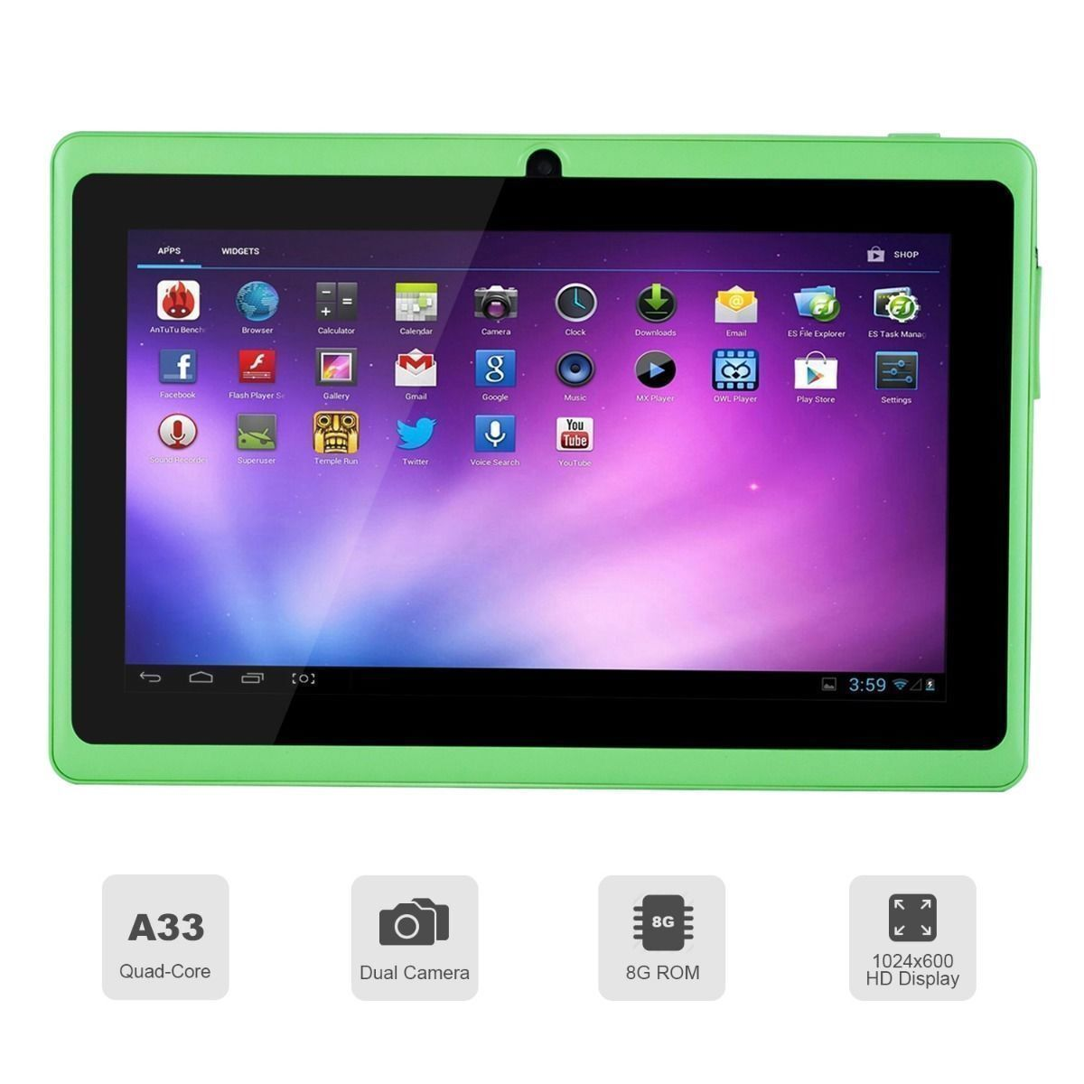 7 tablet pc quad core google android 4 4 kitkat 8gb wifi. Black Bedroom Furniture Sets. Home Design Ideas