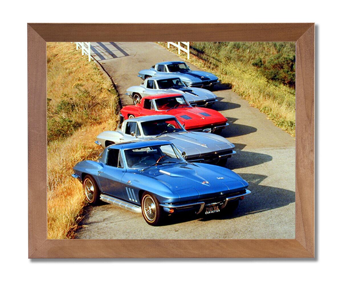 Chevy Corvette Cars Club Room Wall Picture Honey Framed Art Print