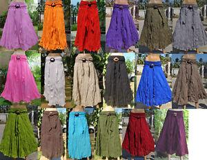 Thai-Long-Skirt-Cotton-Lady-Woman-Boho-Beach-Hippie-Gypsy-Coconut-Buckle-one-sz
