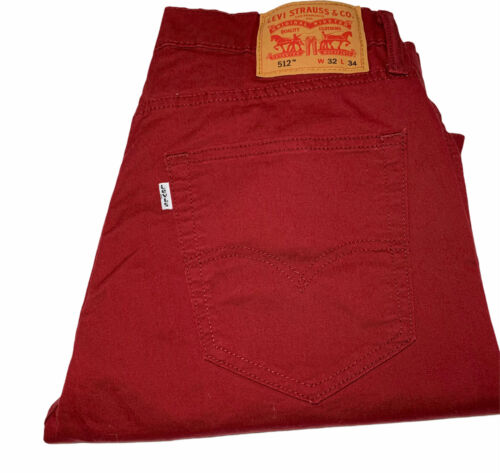 Levis 512 Jeans Mens Size 32x34 Red Classic Casual