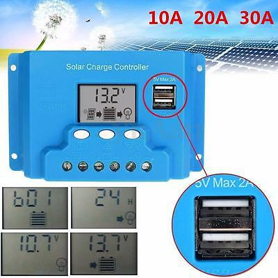 10/20/30A PWM Solar Panel Charge Controller Battery Regulator 12V/24V Dual USB