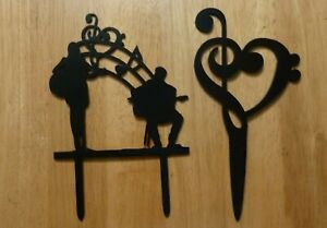 Music-Theme-Treble-Bass-Clef-Or-Guitarists-Acrylic-Black-Sihlouette-Cake-Toppers