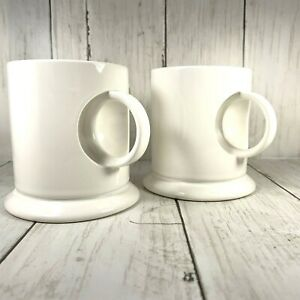 Inset-Handles-Cutout-Coffee-Cups-White-Unique-MARTHA-STEWART-PROP-rare