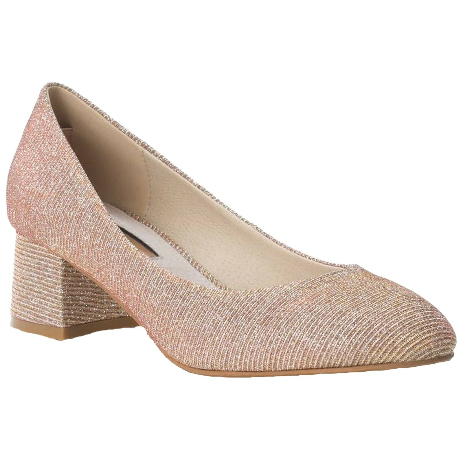 LADIES XTI ANTELINA METALLIC NUDE SHIMMER BLOCK HEEL COURT chaussures 30706