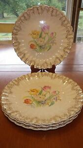 "Vintage Dinner Plates Trojan by Sebring USA Easterwood 4 9 1/4"" RARE 1946 plates"