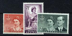 AUSTRALIA-1954-ROYAL-VISIT-SG272-274-BLOCKS-OF-4-MNH
