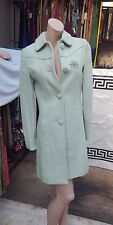 Atmosphere beautiful Vintage Style Pastel Green wool Mix Coat Size 8 + Brooch