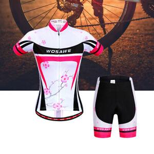 Women-Cycling-Jersey-MTB-Road-Bike-Shirt-Shorts-Padded-Kits-Tops-Short-Sleeve