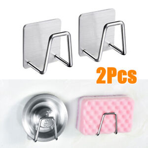 2Pcs-Kitchen-Sink-Soap-Sponge-Drain-Rack-Drainer-Holder-Shelf-Storage-US