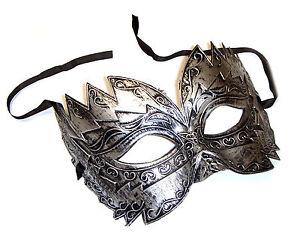 Mens-burnished-silver-masquerade-mask-034-Titan-034-eye-mask-masked-ball-Venetian-Male