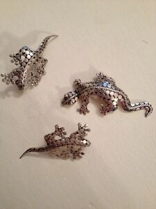 Beautiful-Vintage-925-Silver-Lizard-Brooch-Pin-2-1-2-034-Earring-2-1-4-034-253