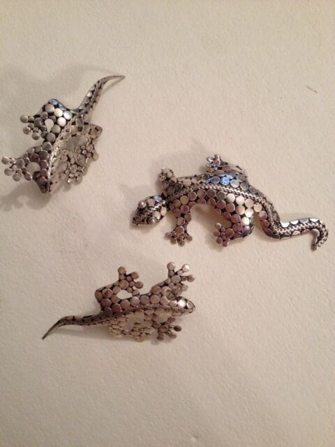 Beautiful Vintage  925 Silver Lizard  Brooch / Pin 2 1/2