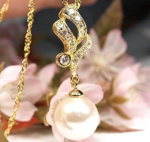 Ga7 LUXUS Muschelkern Perlen Anhänger Kette Gelbgold plattiert