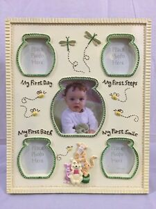Disney-Winnie-Pooh-Tigger-Picture-Frame-First-Bath-Steps-Smile-Holds-5-Photos