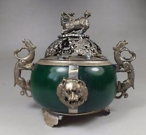 Exquisite-chinese-Tibetan-silver-carving-kylin-inlay-jade-Incense-burner