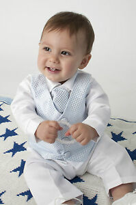 Baby-Boys-4-Piece-Christening-Outfit-Christening-Suit-Blue-White-Check