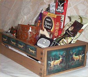 Deer Hunters Gift Basket Wood Crate Coffee Mug Candy Nuts Cards