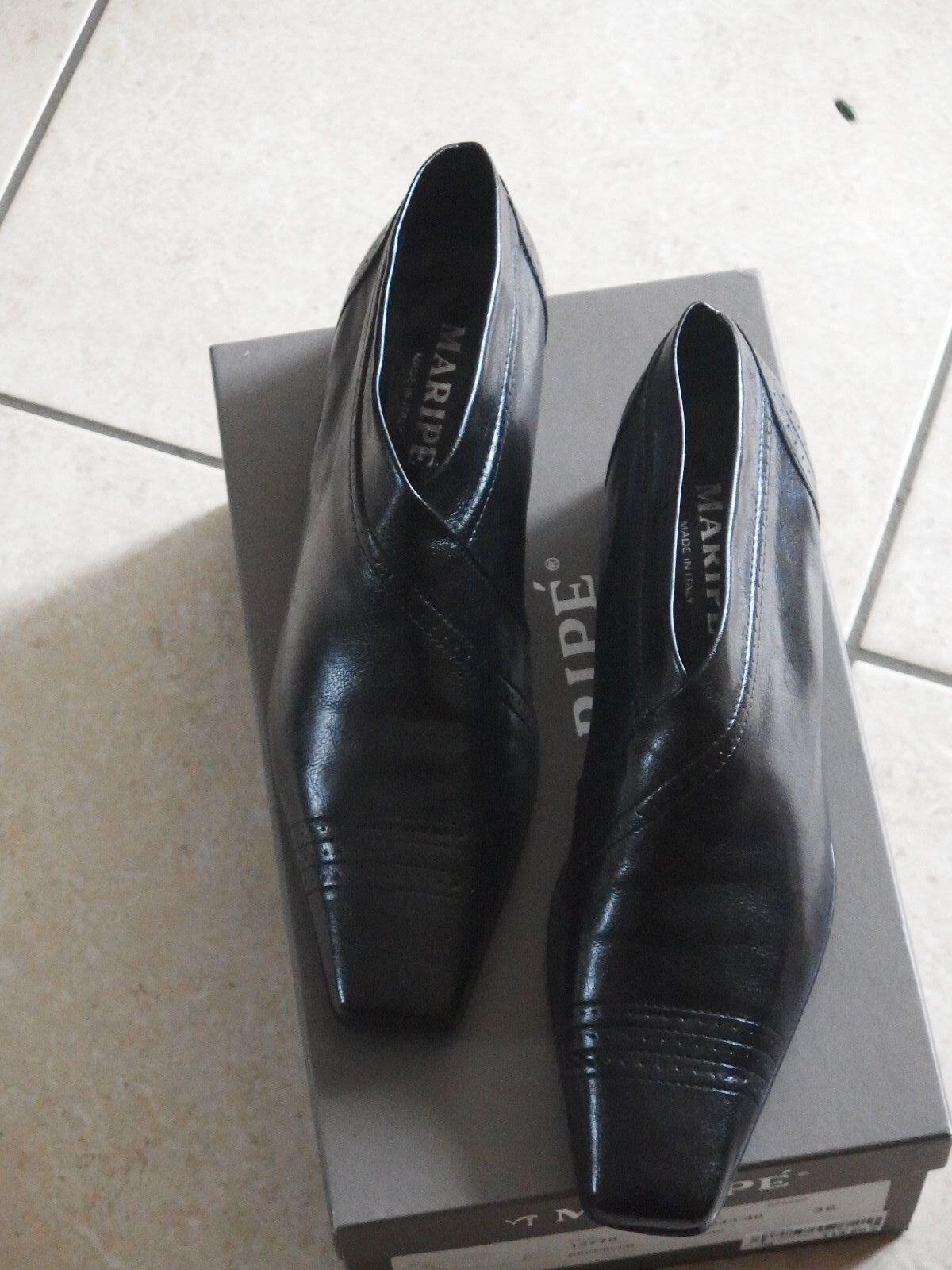 Maripé Damen Halbschuh brunello  Gr. 38 schwarz Leder top