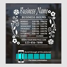 Beauty Nails Spa Salon Custom Store Business Hours Decal Sticker 14 Wide