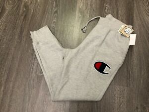 provide plenty of sale retailer sale usa online Details about Champion Reverse Weave Sweatpants Chenille Big C Logo Fuzzy  Taper Men's L Grey