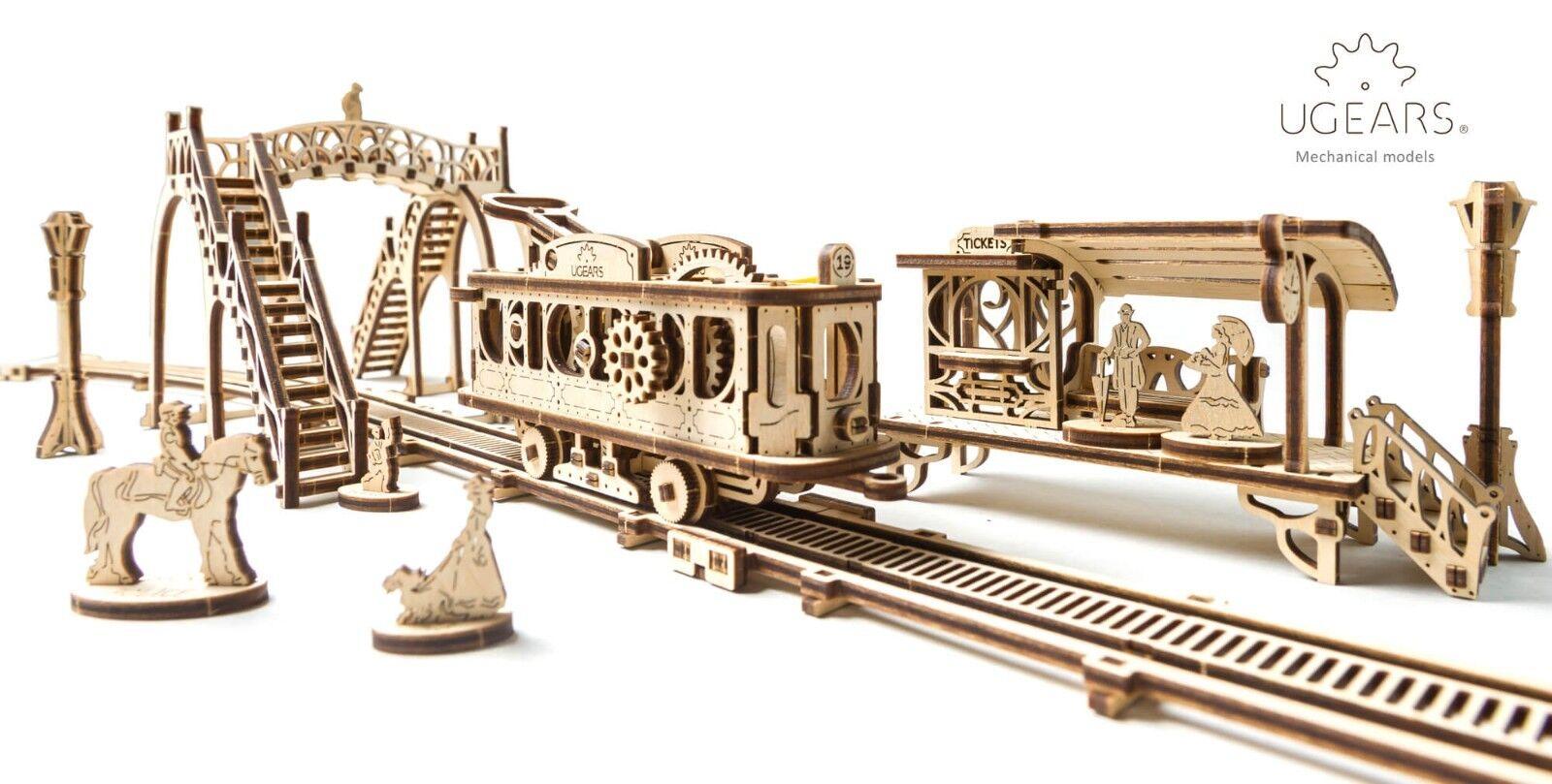 UGears Mechanical Town Series Tram Line mechanical wooden model KIT 3D puzzle