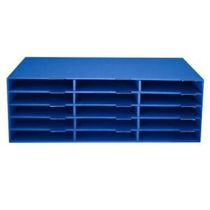 AdirOffice 9.5 in. x 29 in. Blue 15-Slot Construction Paper Storage Organizer