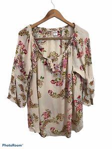 Bila Women's Beige Floral Long Bell Sleeve Scoop Neck Blouse Top Size XL Rayon