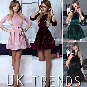 UK-Womens-Velvet-Skater-Dress-Christmas-Party-Belt-Ladies-Mini-Dress-Size-6-14