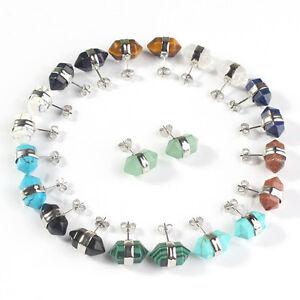 Silver-Plated-Amethyst-Rose-Quartz-Stone-Hexagon-Stud-Women-Ear-Earrings-Jewelry