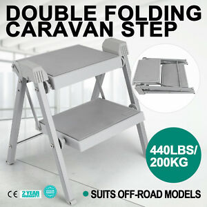 Double-Folding-Caravan-Step-Portable-Steel-Hook-Abs-Plastic-Camper-Trailer