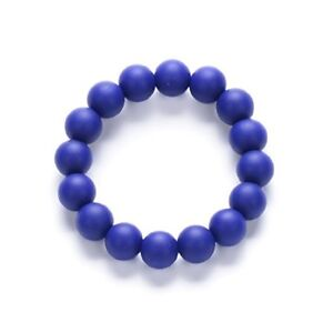(Navy) Silicone Chew Biting Bracelet Baby Teething Teether Bangle Chewy Beads UK