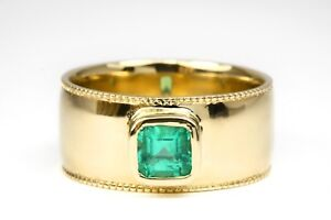 Mens-Modern-14K-or-18k-Yellow-Gold-Emerald-Ring-Mens-White-Gold-Natural-Emerald