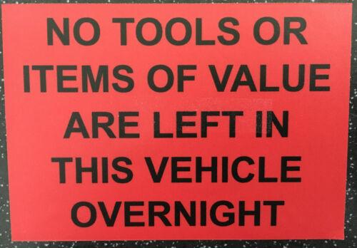 Aucun Outils laissés dans ce véhicule-Van Autocollant Blanc Noir Rouge Gris disponible