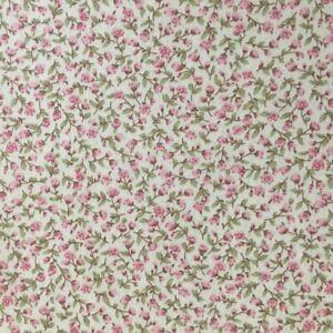 Tissu coton fleuri petit rose rose