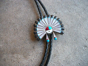 Hopi-Sun-Face-Bolo-Tie-vintage-south-western-sterling-native-indian-old-pawn