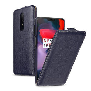 official photos 95478 8b6b2 Details about for OnePlus 6 Genuine Leather Vertical Flip Case Cover Black  Red Blue (9 Color)